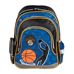 """Рюкзак BRAUBERG (БРАУБЕРГ) для учеников начальной школы, сине-черный, """"Баскетбол"""", 20 литров, 39х29х14 см"""