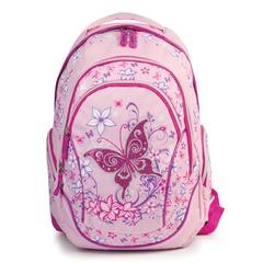 """Рюкзак BRAUBERG (БРАУБЕРГ) для учениц начальной школы, розовый, """"Бабочка"""", 25 литров, 45х34х15 см"""