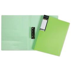 """Папка с боковым металлическим прижимом и внутренним карманом HATBER HD, """"Неоново-зеленая"""", 100 л., 0,9 мм"""