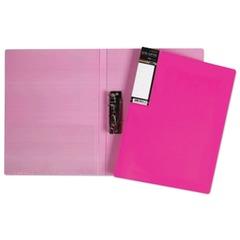 """Папка с боковым металлическим прижимом и внутренним карманом HATBER HD, """"Неоново-розовая"""", 100 л., 0,9 мм"""