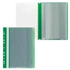 Папка 10 вкладышей STAFF с перфорацией, мягкая, зеленая, 0,16 мм
