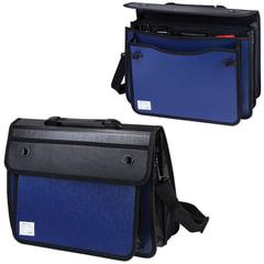 Портфель пластиковый BRAUBERG (БРАУБЕРГ), А4+, 370х270х180 мм, на 2-х замках и ремне, бизнес-класс, 3 отделения, синий/черный