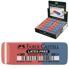 """Резинка стирательная FABER-CASTELL """"7070"""", для карандашей и чернил, каучук, 50x18x8 мм, красно-синяя"""