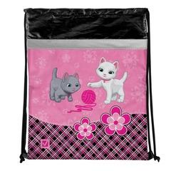 Сумка для обуви BRAUBERG (БРАУБЕРГ) для учениц начальной школы, плотная, розовая/черная, котята, 45х35 см