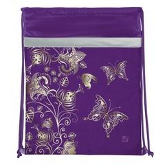 Сумка для обуви BRAUBERG (БРАУБЕРГ) для учениц начальной школы, плотная, фиолетовая/золотая, цветы, 45х35 см