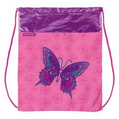 Сумка для обуви ПИФАГОР для учениц начальной школы, розовая, бабочки, 42х34 см
