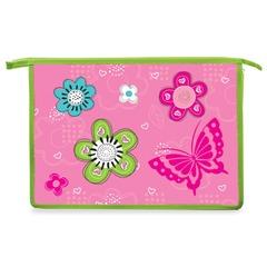 Папка для тетрадей BRAUBERG (БРАУБЕРГ), А4, пластик, молния сверху, цветная печать, для девочек, розовые цветы