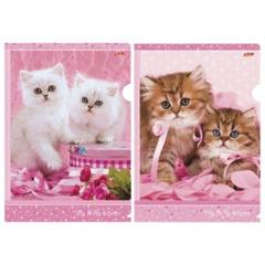 """Папка-уголок с рисунком HATBER HD, А4, """"Нежные котята"""", ассорти, 0,18 мм, AG4"""
