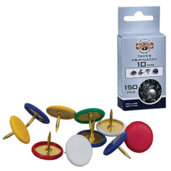 Кнопки канцелярские KOH-I-NOOR, металлические, цветные, 11 мм, 50 шт., в картонной коробке с подвесом