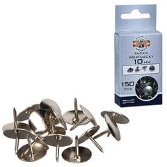 Кнопки канцелярские KOH-I-NOOR, металлические, серебряные, 10 мм, 150 шт., в картонной коробке с подвесом