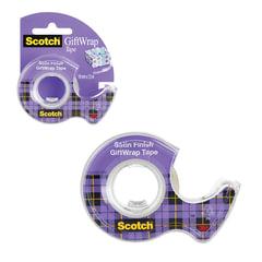 """Клейкая лента 19 мм х 7,5 м, SCOTCH """"Satin"""", полуматовая, на диспенсере, для упаковки подарков, 51 мкм"""