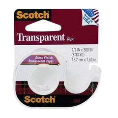 "Клейкая лента 12,7 мм x 7,62 м, канцелярская, SCOTCH ""Transparent"", прозрачная, на мини-диспенсере, 46 мкм"