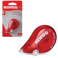 "Корректирующая лента KORES ""Scooter"", 4,2 мм х 5 м, цвет корпуса красный, блистер"