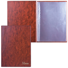 """Папка """"Меню"""" с 10 файлами, 220х320 мм, коричневая, """"ДПС"""""""