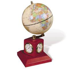 Глобус на подставке с часами, термометром и гигрометром GALANT, цвет - красное дерево, диам. 90 мм
