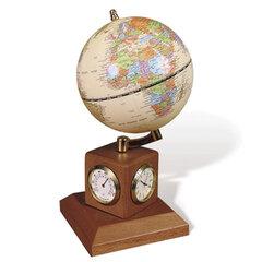 Глобус на подставке с часами, термометром и гигрометром GALANT, цвет - орех, диаметр 90 мм