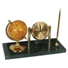 Часы на подставке из мрамора GALANT, с глобусом и шариковой ручкой