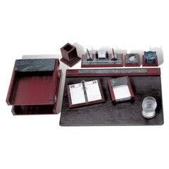 Набор GALANT настольный из мрамора, 8 предметов, зеленый мрамор, красное дерево, двойной лоток, часы