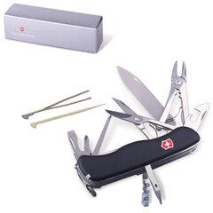 """Подарочный нож VICTORINOX """"Work champ"""", 111 мм, складной, с фиксирующимся лезвием, черный, 21 функция"""