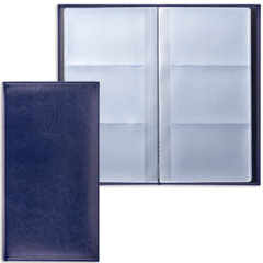 "Визитница трехрядная BRAUBERG ""Imperial"" (БРАУБЕРГ ""Империал""), под гладкую кожу, на 144 визитки, темно-синяя"
