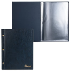 "Папка ""Меню"" на трех винтах, с 10 файлами, 220х320 мм, синяя, ""ДПС"""