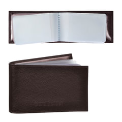 """Визитница карманная BEFLER """"Грейд"""" на 40 визитных карт, натуральная кожа, тиснение, коричневая"""