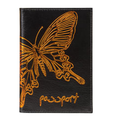 """Обложка для паспорта BEFLER """"Бабочка"""", натуральная кожа, тисненение-принт, черная"""