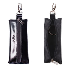 """Футляр для ключей BEFLER """"Classic"""", натуральная кожа, на молнии, 55x135 мм, черный"""