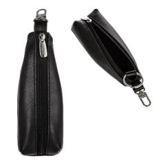 """Футляр для ключей FABULA """"Estet"""", натуральная кожа, на молнии, 55x130x25 мм, черный"""