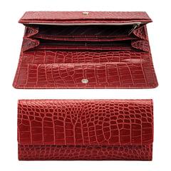 """Портмоне женское FABULA """"Croco Nile"""", натуральная кожа, кнопка, крокодил, 200х95 мм, красное"""