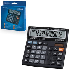 Калькулятор CITIZEN настольный CT-555N, 12 разрядов, двойное питание, 130x128 мм