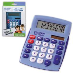 Калькулятор CITIZEN настольный SDC-450NBLCFS, 8 разрядов, двойное питание, 120x87 мм, синий