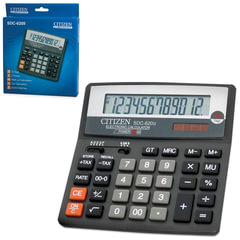 Калькулятор CITIZEN настольный SDC-620II, 12 разрядов, двойное питание, 156x156 мм