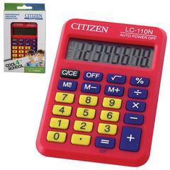 Калькулятор CITIZEN карманный LC-110NRDCFS, 8 разрядов, двойное питание, 87х58 мм, красный