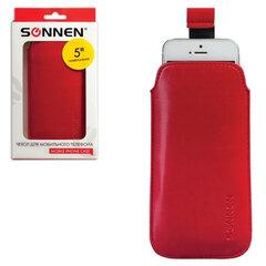 Чехол для телефона SONNEN, кожзаменитель, XL, 145x78x10 мм, универсальный, красный