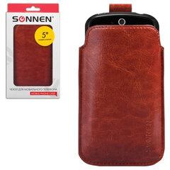 Чехол для телефона SONNEN, кожзаменитель, L, 135х72х10 мм, универсальный, коричневый