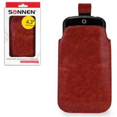 Чехол для телефона SONNEN, кожзаменитель, M, 130x70x10 мм, универсальный, коричневый