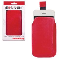 Чехол для телефона SONNEN, кожзаменитель, M, 130x70x10 мм, универсальный, красный