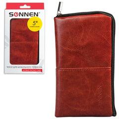 Сумочка для телефона SONNEN на молнии, кожзаменитель, 135x70x10 мм, универсальная, коричневая