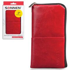 Сумочка для телефона SONNEN на молнии, кожзаменитель, 135x70x10 мм, универсальная, красная