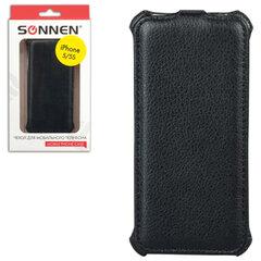 Чехол-обложка для телефона iPhone 5/5S SONNEN, кожзаменитель, вертикальный, черный
