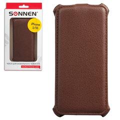 Чехол-обложка для телефона iPhone 5/5S SONNEN, кожзаменитель, вертикальный, коричневый