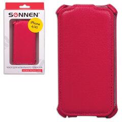 Чехол-обложка для телефона iPhone 4/4S SONNEN, кожзаменитель, вертикальный, красный