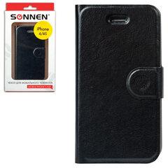 Чехол-обложка для телефона iPhone 4/4S SONNEN, кожзаменитель, горизонтальный, черный