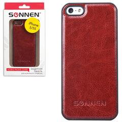 Защитная панель для iPhone 5/5S SONNEN, пластик/кожзаменитель, коричневая