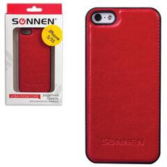 Защитная панель для iPhone 5/5S SONNEN, пластик/кожзаменитель, красная
