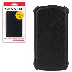 Чехол-обложка для телефона Samsung Galaxy S3 SONNEN, кожзаменитель, вертикальный, черный