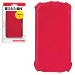 Чехол-обложка для телефона Samsung Galaxy S3 SONNEN, кожзаменитель, вертикальный, красный