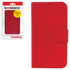 Чехол-обложка для телефона Samsung Galaxy S4 SONNEN, кожзаменитель, горизонтальный, красный