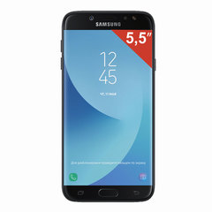 "Смартфон SAMSUNG Galaxy J7, 2 SIM, 5,5"", 4G (LTE), 13/13 Мп, 16 ГБ, microSD, черный, металл и стекло (2017)"